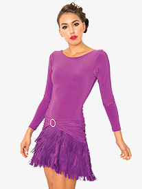 Womens Fringe Long Sleeve Ballroom Dance Dress