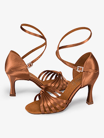 Womens Strappy Satin Ballroom Dance Shoes