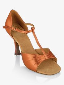 8104b609c Womens Frost T-Strap Satin Ballroom Dance Shoes