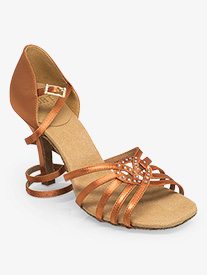 Womens Raindrop Rhinestone Satin Ballroom Dance Shoes