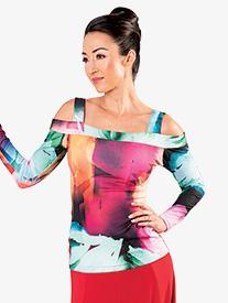 Womens Open Shoulder Long Sleeve Ballroom Dance Top