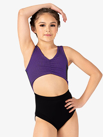 Girls Two-Tone Ribbed Bodice Tank Leotard