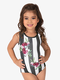Girls Floral Stripe Sublimated Print Tank Leotard