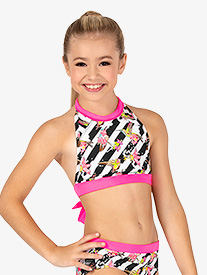 Girls Floral Stripe Dance Bra Top
