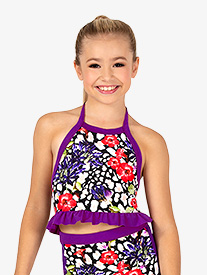 Girls Ruffled Leopard Floral Dance Bra Top