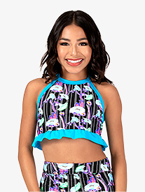 Girls Neon Floral Print Halter Dance Crop Top