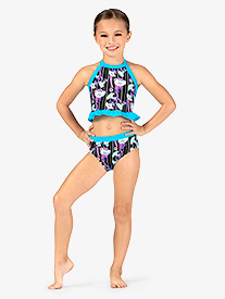 Girls Neon Floral Print Dance Briefs