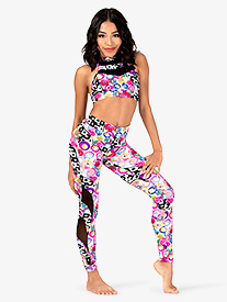 Girls Neon Circles Print Dance Leggings