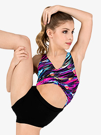 Girls Brush Stroke Print Tank Leotard