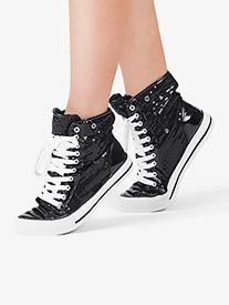 Girls Hi-Top Sequin Fur Sneaker