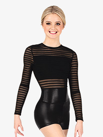 Womens Performance Striped Mesh Long Sleeve Bodysuit