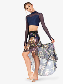 Womens Floral Mesh High-Low Dance Skirt