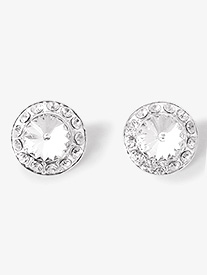 18mm Clear Stone Clip On Earring