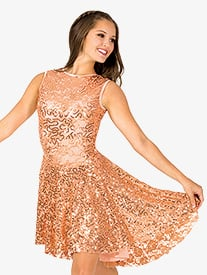 Womens Sequin High-Low Performance Tank Dress