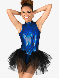 Womens Blue Bayou Bustled Performance Leotard