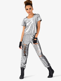 Womens Metallic Foil 2-Piece Hip Hop Set