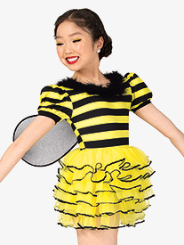 Girls Busy Bee Puff Sleeve Tutu Character Costume Dress