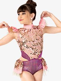 Girls Performance Flutter Sleeve Sequin Leotard