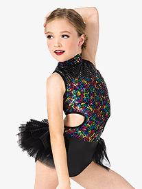Girls Performance Rainbow Sequin Bustled Leotard