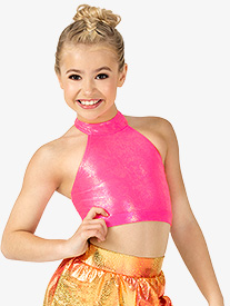 Girls Performance Groupie Metallic Halter Bra Top
