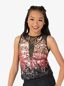 Girls Performance Swag V-Front Sequin Tank Top