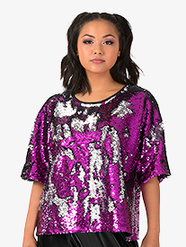 Womens Performance Beats Reversible Sequin Boxy Top