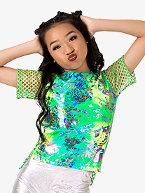 Girls Performance Groove Oversize Metallic Top