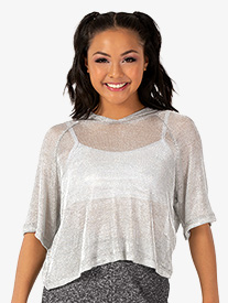 Womens Performance Groove Mesh Hooded Crop Top