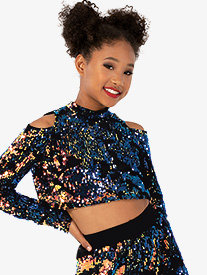 Girls Performance Freestyle Sequin Crop Top
