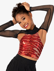 Girls Performance Freestyle Metallic Shrug Crop Top