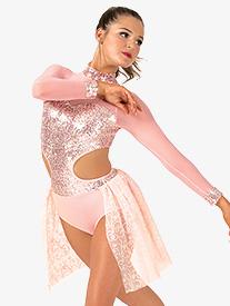 Womens Performance Glitter Long Sleeve Leotard