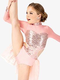 Girls Performance Glitter Long Sleeve Leotard