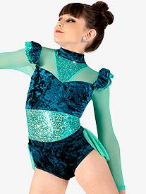 Girls Performance Sequin & Velvet Bustled Leotard