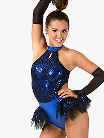 Womens Performance Two-Tone Sequin Bustled Leotard