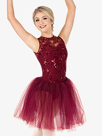 Womens Performance Sequin Tank Tutu Dress
