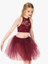 Girls Sequin Lace 2-Piece Dance Costume Set