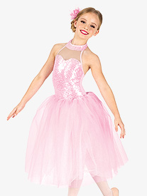 Girls Performance Sequin Halter Romantic Tutu Dress