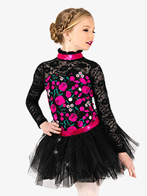 Girls Performance Flower Embroidery Tutu Dress