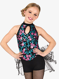 Girls Performance Floral Sequin Shorty Unitard