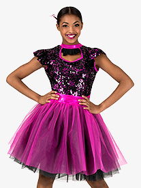 Womens Performance Two-Tone Sequin Short Sleeve Tutu Dress