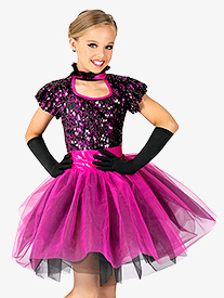 Girls Performance Two-Tone Sequin Short Sleeve Tutu Dress