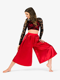 Womens Lace & Satin 2-Piece Dance Costume Set