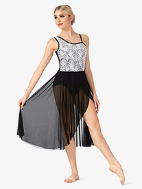 Womens Performance Asymmetrical Sequin Dress