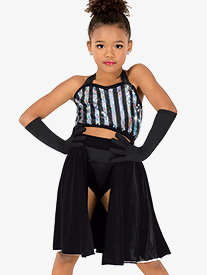 Girls Striped Top & Skirt 2-Piece Dance Costume Set
