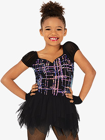 Girls Performance Plaid Handkerchief Dress