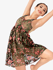 Womens Performance Embroidered Floral Camisole Dress