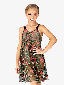 Girls Performance Embroidered Floral Camisole Dress