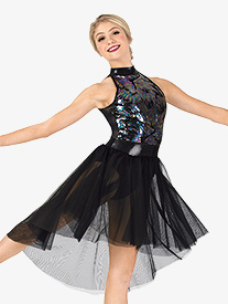 Womens Performance Iridescent Sequin Halter Dress