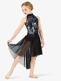Girls Performance Iridescent Sequin Halter Dress