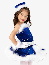 Girls Velvet Camisole Character Dance Costume Dress Set